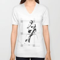 popart V-neck T-shirts featuring Chair PopArt by C R Clifton Art
