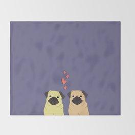 Purple Pugs Throw Blanket