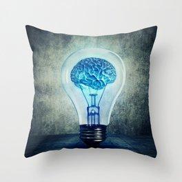 lightbulb brain shining Throw Pillow