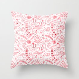 Doodle Christmas pattern red Throw Pillow