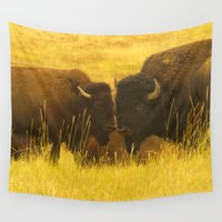 buffalo Wall Tapestries featuring American Buffalo... by Nature In Art...