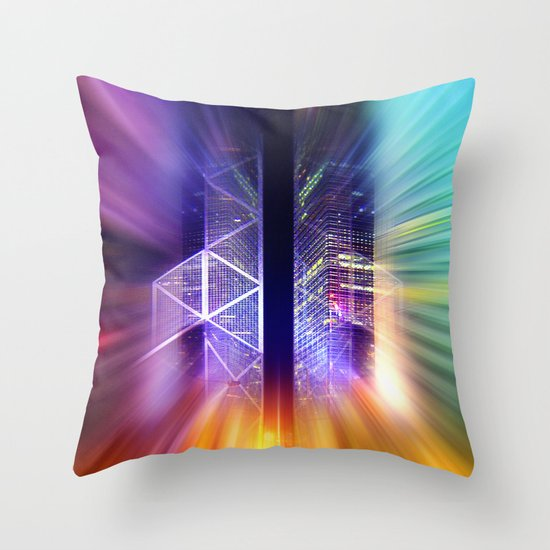 GOLDEN MOTION - Abstract Surrealism Throw Pillow