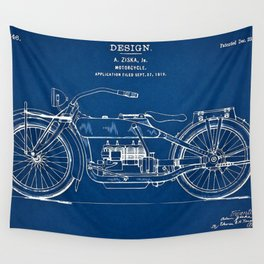 1919 Motorcycle Patent Outline Print Wall Tapestry