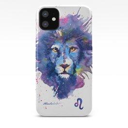 Watercolor Leo Zodiac Splatters Lion iPhone Case