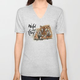 Tiger Wild and Free Unisex V-Neck