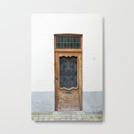 Wood Door with Wrought Iron Detail, Bruges Metal Print