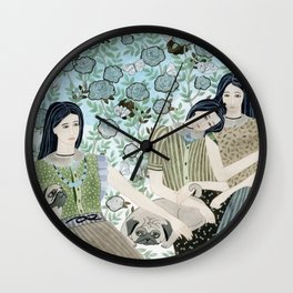 Girls With Pugs Among Roses Wall Clock