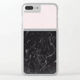 Grey Black Marble Meets Romantic Pink #1 #decor #art #society6 Clear iPhone Case