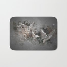Seagulls flying Bath Mat