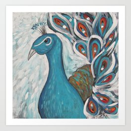 Blue Peacock with Blue Art Print