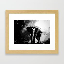 elephant jungle sunray va bw Framed Art Print