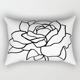Rose, Line Drawing in Black and White Rectangular Pillow