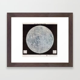 Vintage Lunar Moon Map, 1960s Framed Art Print