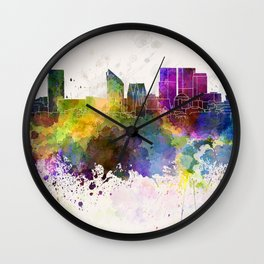 The Hague skyline in watercolor background Wall Clock