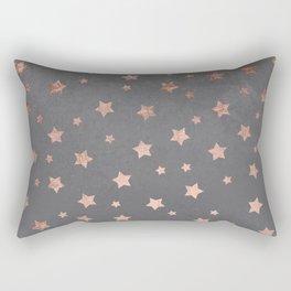 Rose gold Christmas stars geometric pattern grey graphite industrial cement concrete Rectangular Pillow