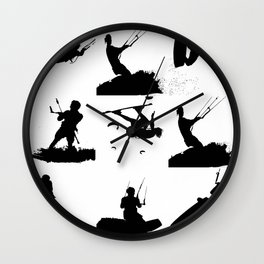 Wakeboarder Silhouette Collage Wall Clock