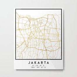 JAKARTA INDONESIA CITY STREET MAP ART Metal Print