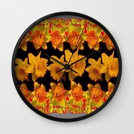 GOLDEN DAFFODILS GARDEN IN GREY-BLACK ART DESIGN Wall Clock