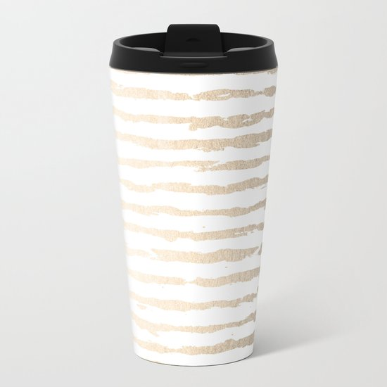 Simply Brushed Lines White Gold Sands on White Metal Travel Mug