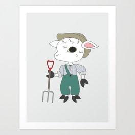 Gardener sheep character. Cartoon style animal drawing. Art Print