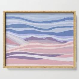 Bohemian Waves // Abstract Baby Blue Pinkish Blush Plum Purple Contemporary Light Mood Landscape  Serving Tray