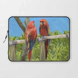 Scarlet Macaw Parrots Perching Laptop Sleeve