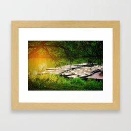 Sunlight At The Boathouse Framed Art Print