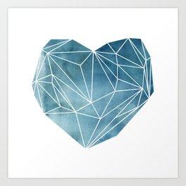 Heart Graphic Watercolor Blue Art Print