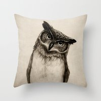 paper Throw Pillows featuring Owl Sketch by Isaiah K. Stephens