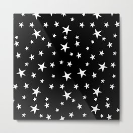 Stars - White on Black Metal Print