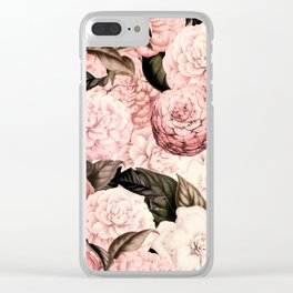 Vintage & Shabby Chic Pink Floral camellia flowers watercolor pattern Clear iPhone Case