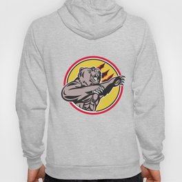 California Grizzly Bear Swiping Paw Circle Retro Hoody