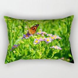 Butterfly and Flowers Rectangular Pillow