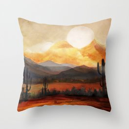 Desert in the Golden Sun Glow Throw Pillow