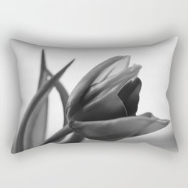 Tulip Blooming In Black And White Rectangular Pillow
