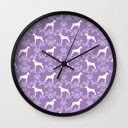 Doberman Pinscher floral silhouette purple and white minimal basic dog breed pattern art Wall Clock