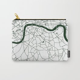 London White on Green Street Map Carry-All Pouch
