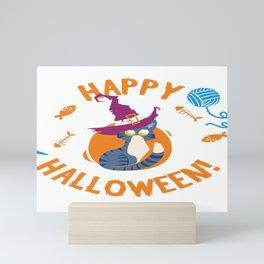 Happy Halloween Funny Witch Kitty Mini Art Print
