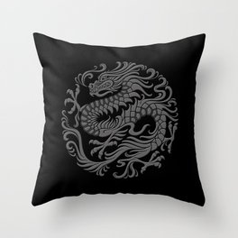 Traditional Gray and Black Chinese Dragon Circle Throw Pillow