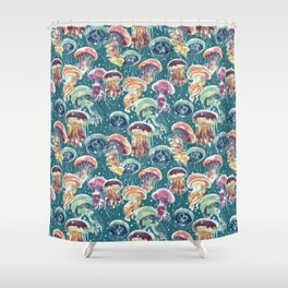pattern with a lot of watercolor multicolored jellyfishes Shower Curtain