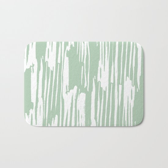 Bamboo Stripe Pastel Cactus Green and White Bath Mat