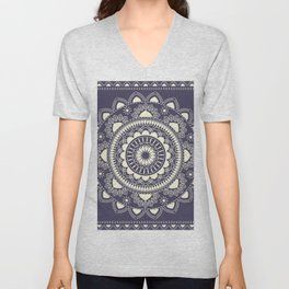 Boho Indian medallion Blue Unisex V-Neck