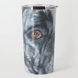 American Bulldog dog portrait Fine Art Dog Painting by L.A.Shepard Travel Mug