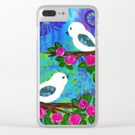 Girl's Room Artwork, Two White Birds with Pink Flowers, Sweet and Whimsical Art Clear iPhone Case