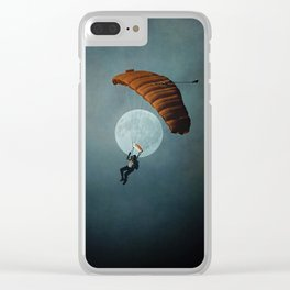 Skydiver's Moon Clear iPhone Case