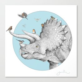 Triceratops and Birdies Canvas Print