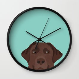 Chocolate Lab dog breed portrait pet art dog lover gifts labrador retriever Wall Clock