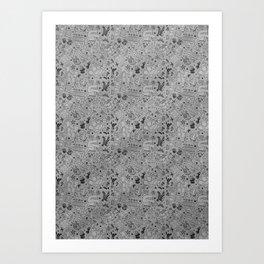 Tattoo Pattern Black and Grey Art Print