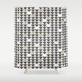 Geometric Triangle Charcoal Gold And White Pattern Shower Curtain