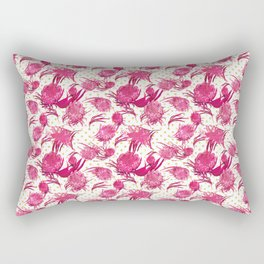 Beautiful Pink Australian Native Flowers on Gold Polka Dots - Protea, Grevillea, Eucalyptus Rectangular Pillow